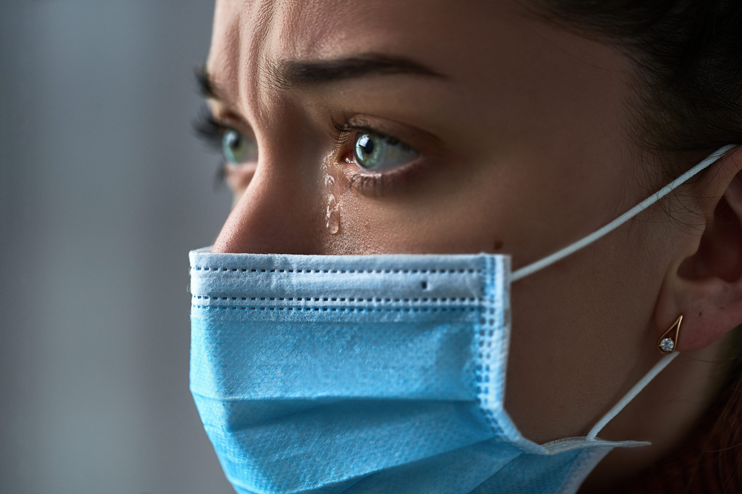 Upset Depressed Melancholy Sad Crying Woman In Protective Face Mask With Tears Eyes During Serious Illness Coronavirus Outbreak And Flu Covid 19 Epidemic. Health Problems Difficulties By Goffkein.pro  Scaled